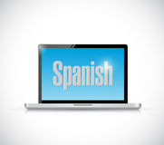 Learn spanish on your computer concept Stock Photography
