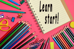 Learn start!. Learn start words on notebook Royalty Free Stock Photography