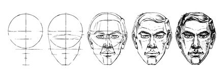 Learn step by step to draw the face of a man. Royalty Free Stock Images