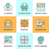 Learn and study line icons set Royalty Free Stock Photo