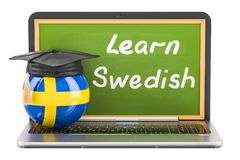 Learn Swedish concept with laptop blackboard, graduation cap and. Flag of Sweden, 3D Stock Photo