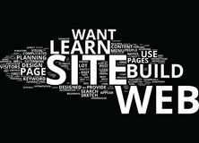 Learn To Build A Web Site Text Background  Word Cloud Concept Royalty Free Stock Image