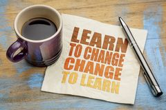 Learn to change word abstract on napkin Stock Photo