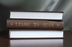 Learn to code. Book concept.