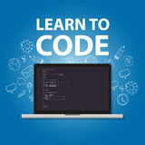 Learn to code programming language study practice education. Vector Stock Image