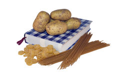 Learn to cook. Cookbook whit potatoes and pasta Stock Image