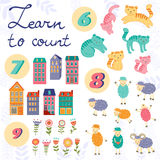 Learn to count concept set of cute graphic Stock Photo