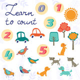 Learn to count concept set of cute graphic Royalty Free Stock Image
