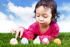 Learn to count easter eggs Stock Photo
