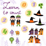 Learn to count  Halloween related cute collection Stock Images