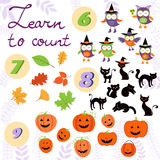 Learn to count  Halloween related cute collection Royalty Free Stock Photos