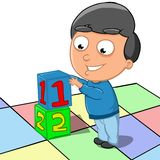 Children Learn to count. Illustration of a boy who is learning to count Royalty Free Stock Image