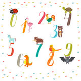 Learn to count numbers. Funny cartoon childish illustration  Stock Photo