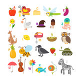 Learn to read. Children alphabet with cute cartoon animals and o Stock Image