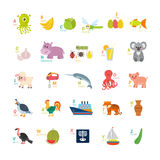 Learn to read. Children alphabet with cute cartoon animals and o Royalty Free Stock Images