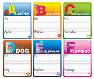 Learn to read and write cards Stock Images