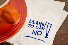 Learn to say no advice Stock Image