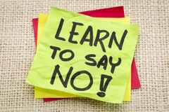 Learn to say no advice Stock Photo