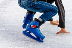 Learn to skate on the skating rink Royalty Free Stock Photography
