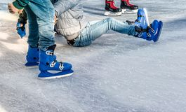 Learn to skate on the skating rink Royalty Free Stock Photo