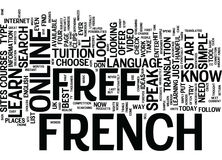 Learn To Speak French Free Text Background  Word Cloud Concept. LEARN TO SPEAK FRENCH FREE Text Background Word Cloud Concept Stock Photos