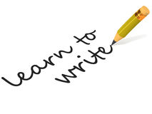 Learn to write. Text on white background saying learn to write, with a pencil, concept of learning written english Royalty Free Stock Photo