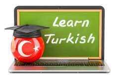 Learn Turkish concept with laptop blackboard, graduation cap. Learn Turkish concept with laptop blackboard, graduation cap and flag of Turkey, 3D Stock Photography