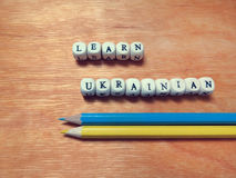 Learn Ukrainian and colored pencils Stock Photography