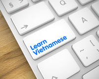 Learn Vietnamese - Inscription on White Keyboard Button. 3D. Metallic Keyboard Keypad Showing the TextLearn Vietnamese. Message on Keyboard White Key. Service Stock Images