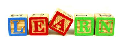 LEARN wooden blocks Stock Image