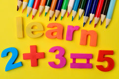 Learn word.Colorful pencils Stock Photos