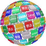 Learn Word Sphere International Languages Education World Cultur. Learn word translated in different languages on a ball of tiles illustrating a world of diverse Stock Photos