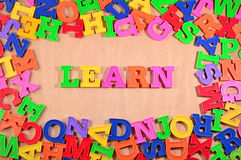 Learn written by plastic colorful letters Stock Photo
