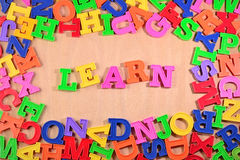 Learn written by plastic colorful letters Royalty Free Stock Photo