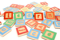 LEARN written with play blocks Stock Photos