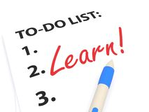 Learn. Written in red text on white board with to do list enumerated in black stock photos