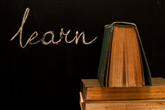 learn written on school blackboard Stock Image