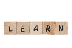 Learn Written With Wooden Blocks. Stock Images