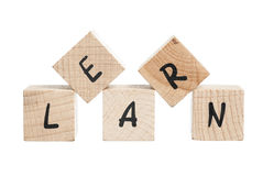 Learn Written With Wooden Blocks. Royalty Free Stock Images