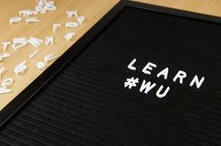 Learn Wu Chinese Simple Sign On Black Background Great For