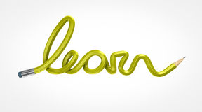 LEarn yellow pencil. Yellow pencil bended forming word learn Stock Photography