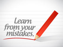 Learn from your mistakes written message. Illustration design Stock Photo