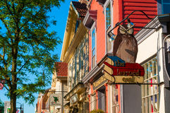 Learned Owl. HUDSON, OH - JUNE 14, 2014: The Learned Owl bookstore has been beloved fixture of downtown Hudson for decades and is one of the few thriving Stock Photography
