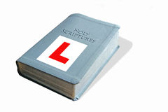 Learner bible. Conceptual photo of learner plate on bible depicting new faith or just learning the bible royalty free stock images