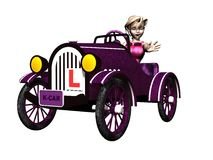 Learner Driver. Toon style girl and car complete with learner plates Royalty Free Stock Photo