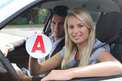 Learner driver. Having her first lesson Royalty Free Stock Photos
