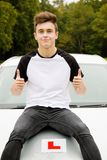 Learner Driver. Passed his driving test Stock Photo