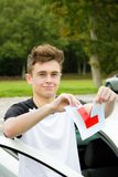 Learner Driver. Passed his driving test Royalty Free Stock Photo