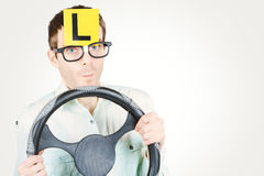 Learner driver at smart driving school Royalty Free Stock Photo