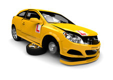 Learner driver wreck car concept. 3D  render image representing a Learner driver wreck car concept Stock Photography